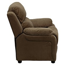 Deluxe Padded Contemporary Brown Microfiber Kids Recliner With Storage Arms