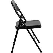 Hercules Series Triple Braced & Double-Hinged Black Metal Folding Chair