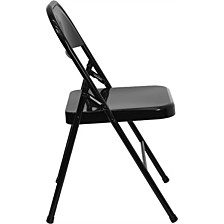 Hercules Series Triple Braced & Double-Hinged Black Metal Folding Chair