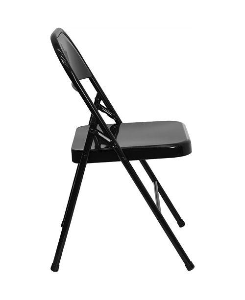 Flash Furniture Hercules Series Triple Braced & Double-Hinged Black Metal Folding Chair