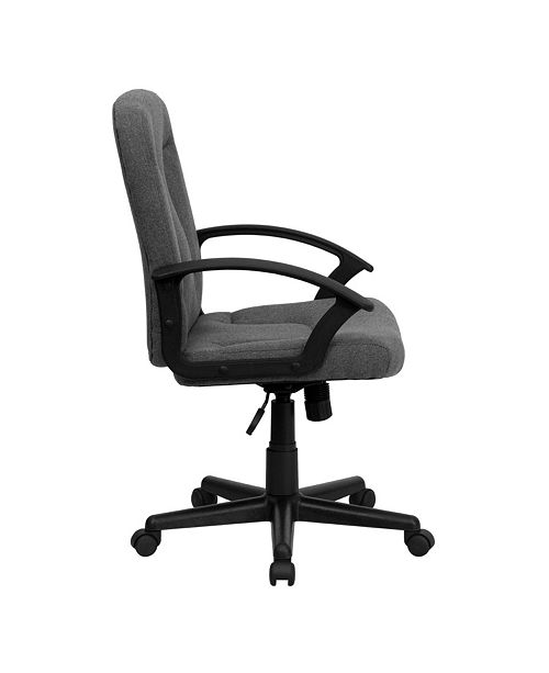 Flash Furniture Mid-Back Gray Fabric Executive Swivel Chair With Nylon Arms