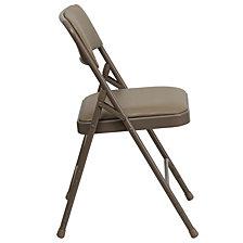Hercules Series Curved Triple Braced & Double-Hinged Beige Vinyl Fabric Metal Folding Chair