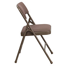 Hercules Series Curved Triple Braced & Double-Hinged Beige Fabric Metal Folding Chair