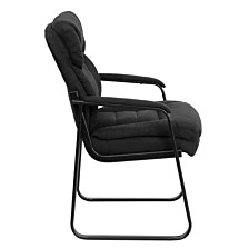 Black Microfiber Executive Side Reception Chair With Sled Base