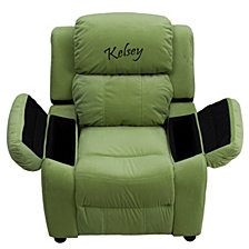 Personalized Deluxe Padded Avocado Microfiber Kids Recliner With Storage Arms