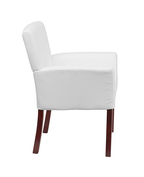 Incredible White Leather Executive Side Reception Chair With Mahogany Legs Pdpeps Interior Chair Design Pdpepsorg