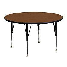 48'' Round Oak Hp Laminate Activity Table - Height Adjustable Short Legs