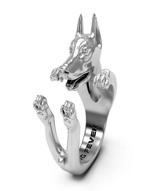Dog Fever Dobermann Hug Ring in Sterling Silver