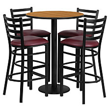 30'' Round Natural Laminate Table Set With 4 Ladder Back Metal Barstools - Burgundy Vinyl Seat