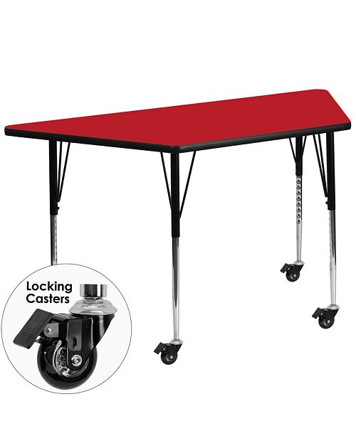 Flash Furniture Mobile 25''W X 45''L Trapezoid Red Hp Laminate Activity Table - Standard Height Adjustable Legs