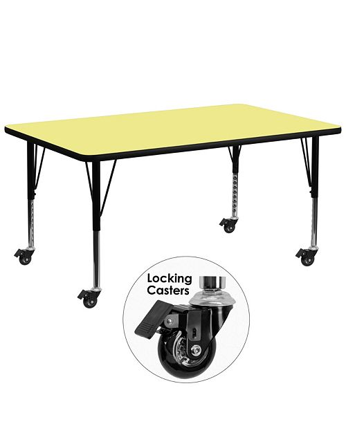 Flash Furniture Mobile 30''W X 72''L Rectangular Yellow Thermal Laminate Activity Table - Height Adjustable Short Legs