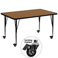 Mobile 36''W X 72''L Rectangular Oak Thermal Laminate Activity Table - Height Adjustable Short Legs