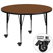 Mobile 42'' Round Oak Hp Laminate Activity Table - Height Adjustable Short Legs