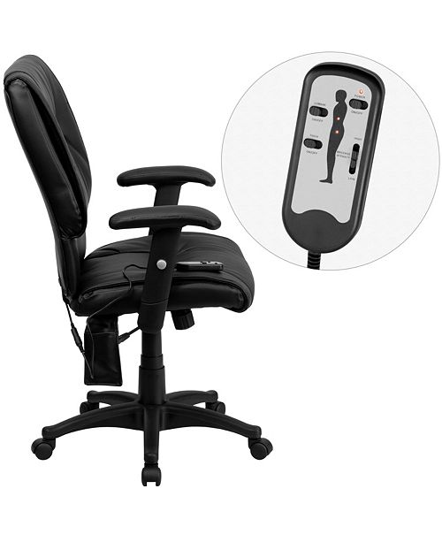 Flash Furniture Mid-Back Massaging Black Leather Executive Swivel Chair With Adjustable Arms