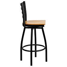 Hercules Series Black Ladder Back Swivel Metal Barstool - Natural Wood Seat