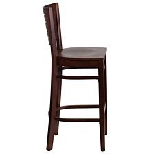 Darby Series Slat Back Walnut Wood Restaurant Barstool