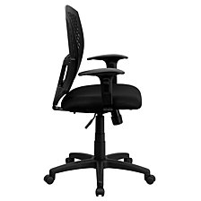 Mid-Back Designer Back Swivel Task Chair With Fabric Seat And Adjustable Arms