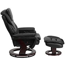 Contemporary Black Leather Recliner And Ottoman With Swiveling Mahogany Wood Base