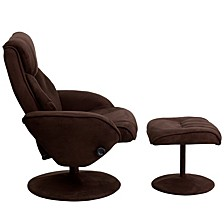 Contemporary Brown Microfiber Recliner And Ottoman With Circular Microfiber Wrapped Base