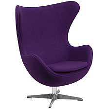 Wool Fabric Egg Chair With Tilt-Lock Mechanism