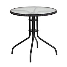 28'' Round Tempered Glass Metal Table With Rattan Edging