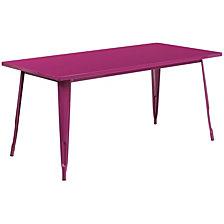 31.5'' X 63'' Rectangular Purple Metal Indoor-Outdoor Table