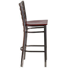 Hercules Series Clear Coated Ladder Back Metal Restaurant Barstool - Mahogany Wood Seat