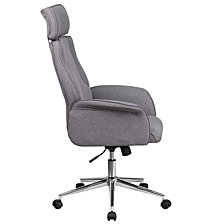 High Back Gray Fabric Executive Swivel Chair With Chrome Base And Fully Upholstered Arms