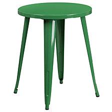 24'' Round Green Metal Indoor-Outdoor Table