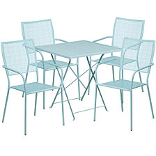 28'' Square Sky Blue Indoor-Outdoor Steel Folding Patio Table Set With 4 Square Back Chairs