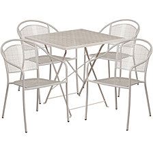 28'' Square Light Gray Indoor-Outdoor Steel Folding Patio Table Set With 4 Round Back Chairs
