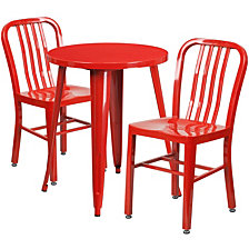 24'' Round Red Metal Indoor-Outdoor Table Set With 2 Vertical Slat Back Chairs