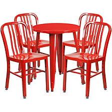 24'' Round Red Metal Indoor-Outdoor Table Set With 4 Vertical Slat Back Chairs