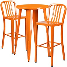 24'' Round Orange Metal Indoor-Outdoor Bar Table Set With 2 Vertical Slat Back Stools