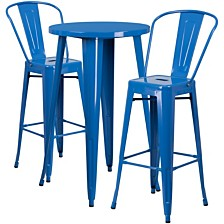 24'' Round Blue Metal Indoor-Outdoor Bar Table Set With 2 Cafe Stools