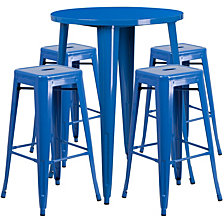 30'' Round Blue Metal Indoor-Outdoor Bar Table Set With 4 Square Seat Backless Stools