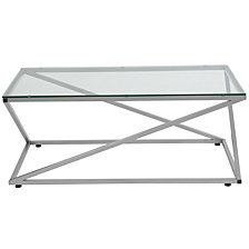 Park Avenue Collection Glass Coffee Table With Contemporary Steel Design
