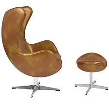 Gold Leather Egg Chair With Tilt-Lock Mechanism And Ottoman