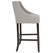 "Carmel Series 30"" High Transitional Tufted Walnut Barstool With Accent Nail Trim In Light Gray Fabric"