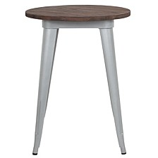 """24"""" Round Silver Metal Indoor Table With Walnut Rustic Wood Top"""