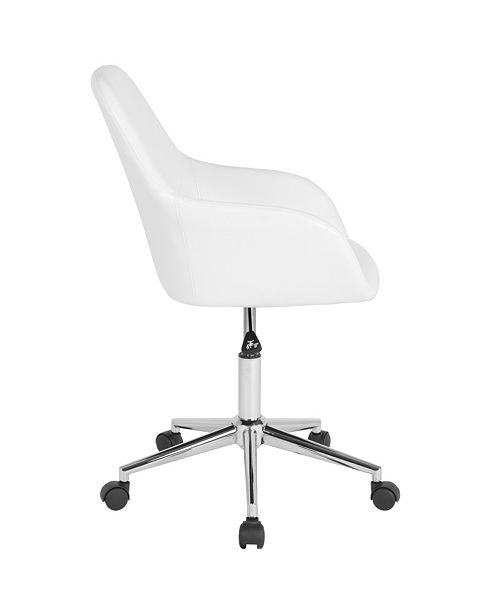 Surprising Cortana Home And Office Mid Back Chair In White Leather Spiritservingveterans Wood Chair Design Ideas Spiritservingveteransorg