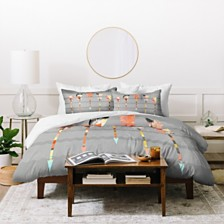 Deny Designs Iveta Abolina Gray Pastel Feathers Queen Duvet Set