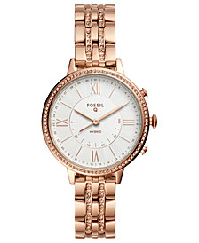 Fossil Q Women's Jacqueline Rose Gold-Tone Stainless Steel Bracelet Hybrid Smart Watch 36mm