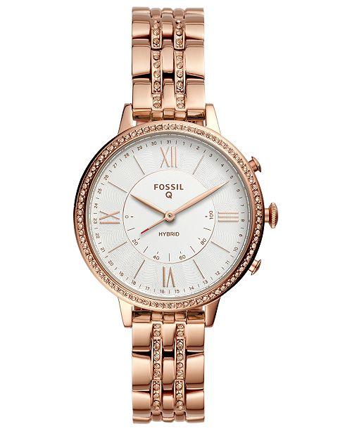 d73ea1f4f ... Fossil Q Women's Jacqueline Rose Gold-Tone Stainless Steel Bracelet  Hybrid Smart Watch ...