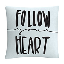 "Typographic Follow Your Heart 16x16"" Decorative Throw Pillow by ABC"