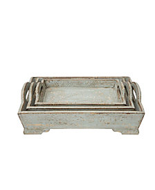 Aqua Wood Trays, Set of 3