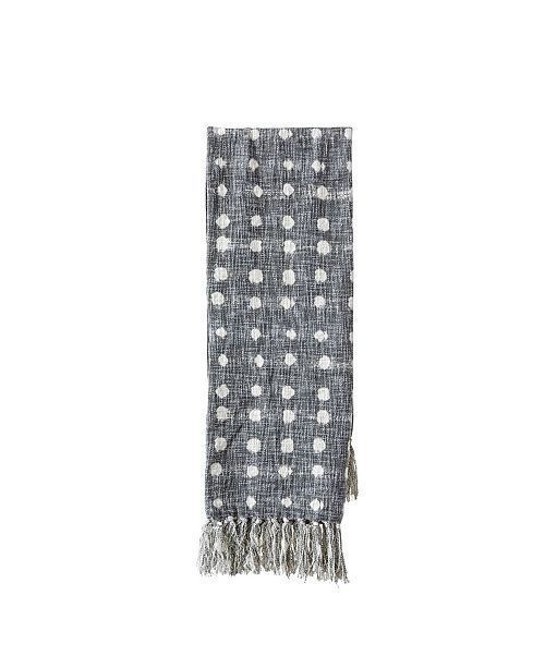 Bloomingville Charcoal Throw w/White Polka Dots and Tassels