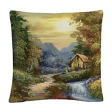 """Tranquility Rustic Landscape Mountains 16x16"""" Decorative Throw Pillow by Masters Fine Art"""