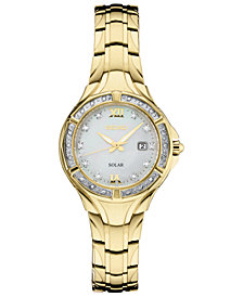 Seiko Women's Solar Diamond Collection Diamond-Accent Gold-Tone Stainless Steel Bracelet Watch 29mm