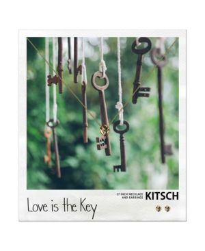 KITSCH Polaroid Heart Lock Necklace And Earring Set in Gold